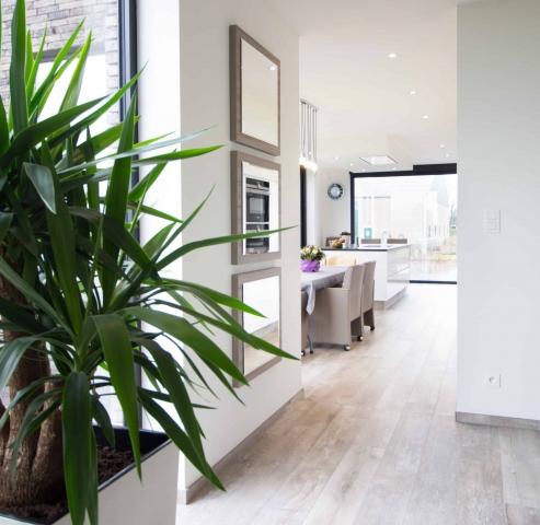 Foto van zicht op een keuken vanuit de living
